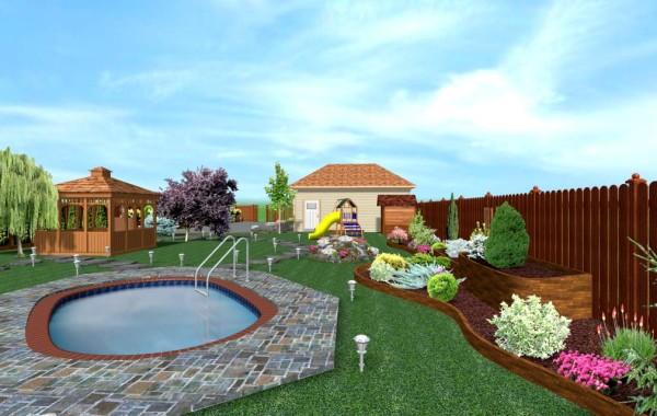 Proiect gradina 3D cu piscina